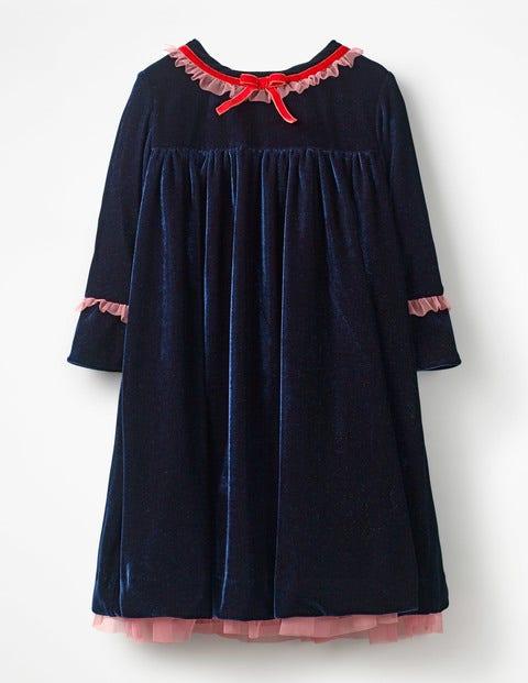 Frill Trim Velvet Party Dress c0231af46fd0