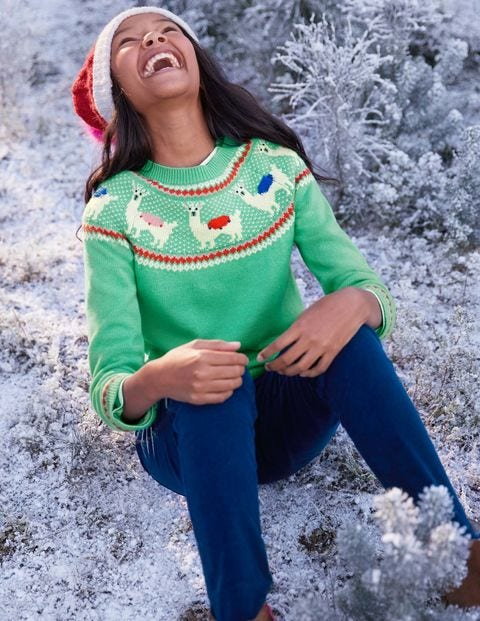 Llama Fair Isle Jumper - Jungle Green Llamas