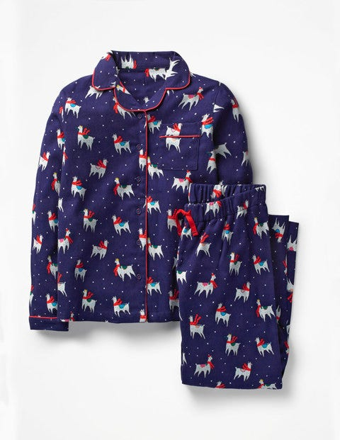 Festive Pyjama Set - Starboard Blue Fa-la-la-llamas
