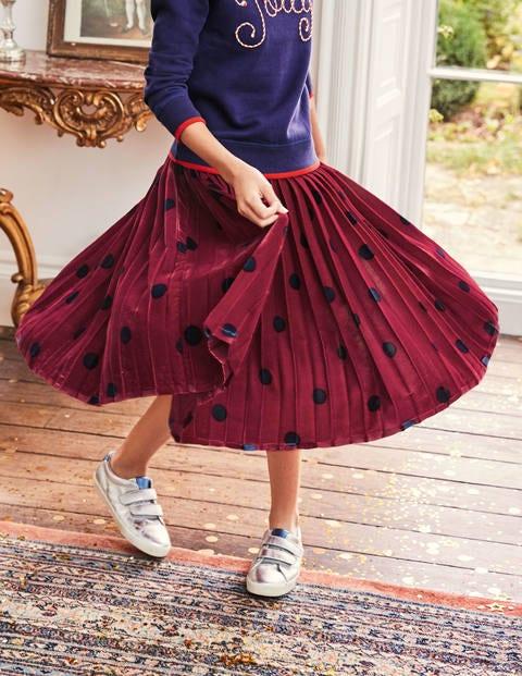 Pleated Velvet Midi Skirt - Bramble Red/Navy Spot