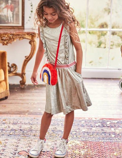 Metallic Ruffle Detail Dress - Metallic Silver