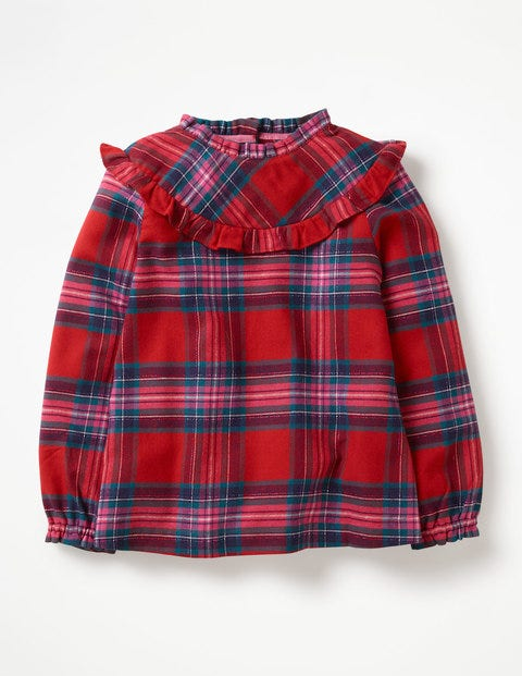 Festive Woven Check Top - Engine Red/Pop Pink Check