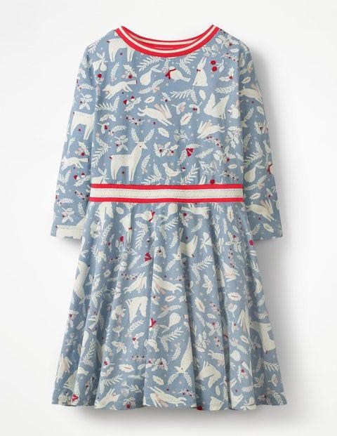 Printed Jersey Ballerina Dress - Boathouse Blue Woodblock