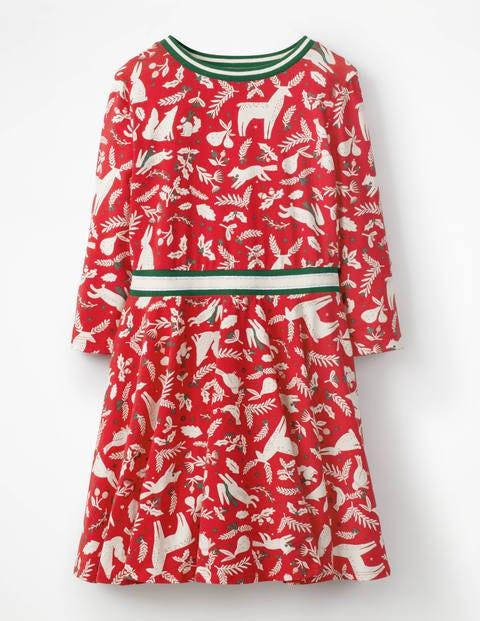Printed Jersey Ballerina Dress - Polish Red Woodblock