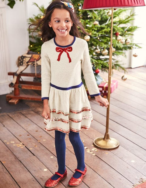 Knitted Party Dress - Ecru Marl