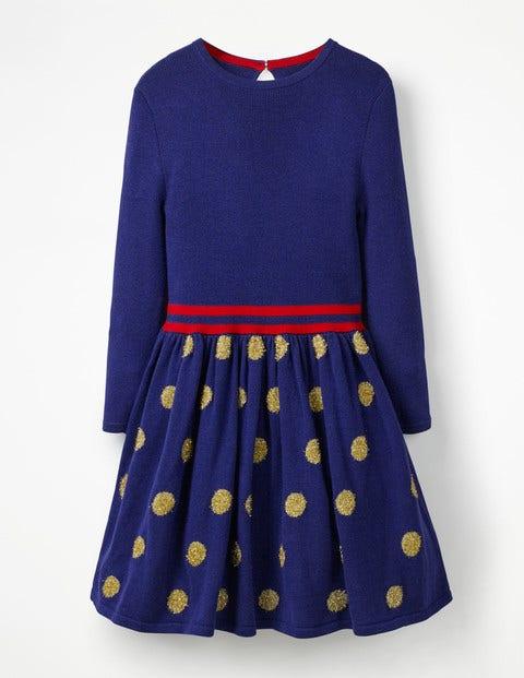 Metallic Spot Knitted Dress - Prussian Blue/Gold Spots