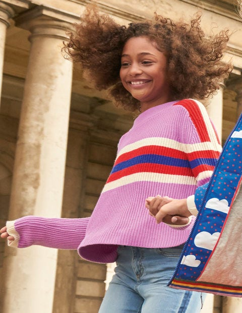 Colourful Knitted Jumper - Lilac Pink