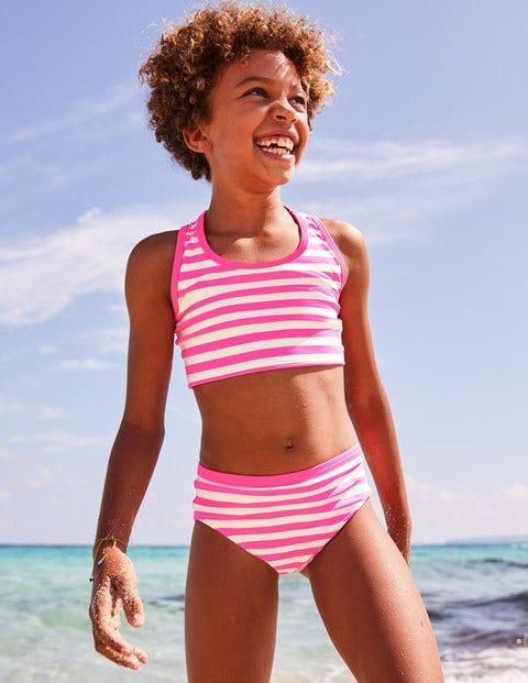Patterned Bikini Bottoms - Coral Pink/Ivory