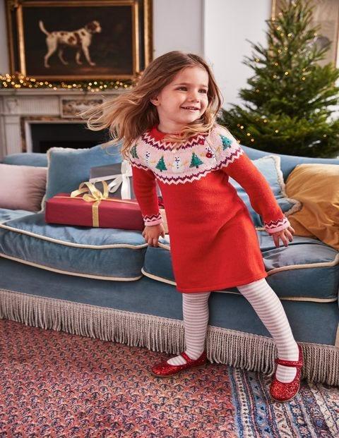 Fair Isle Knitted Dress - Polish Red Snowmen