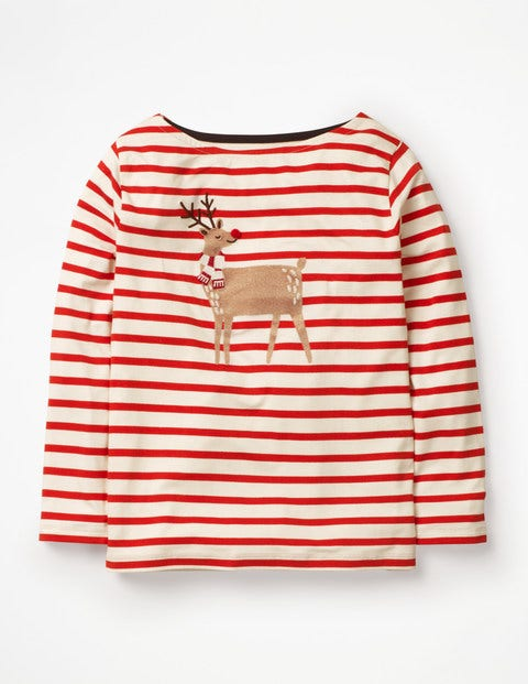 Bold And Bright Breton - Ivory/Post Box Red Reindeer