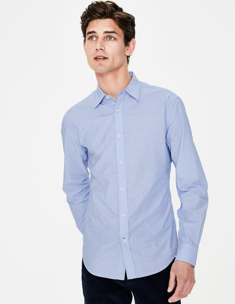 Slim Fit Poplin Shirt - Blue End on End