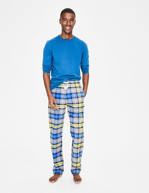 Brushed Cotton Pull-Ons - Grey Marl/Yellow Check
