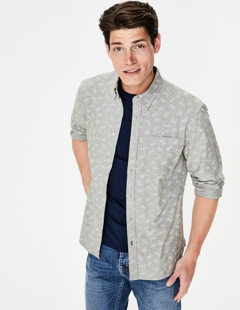 Slim Fit Oxford Shirt - Grey Marl Floral