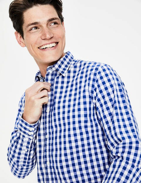 Slim Fit Poplin Pattern Shirt - Blue Wave Clip Dot