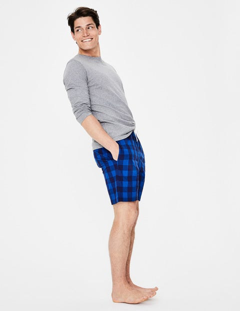 Cotton Poplin Lounge Shorts - Blues Gingham