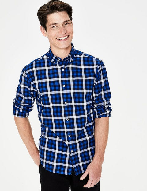 Casual Twill Shirt - Blues Gingham