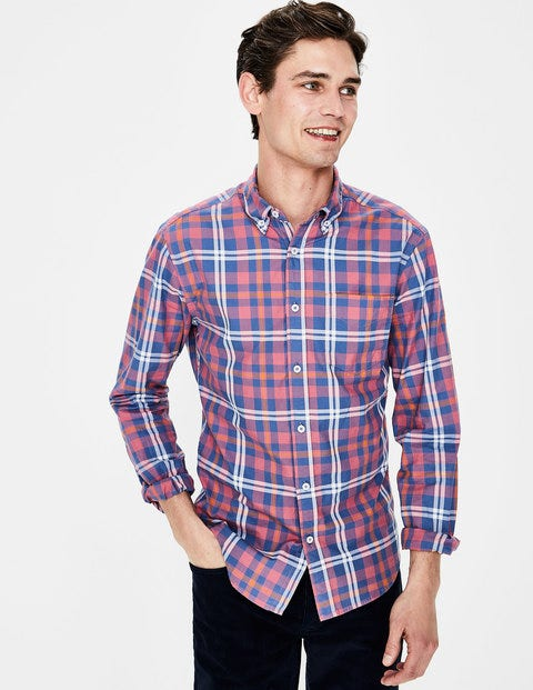 Slim Fit Casual Twill Shirt - Washed Berry Check
