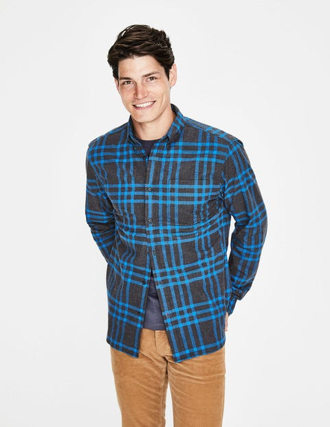 Lightweight Flannel Shirt - London Grey Marl Check