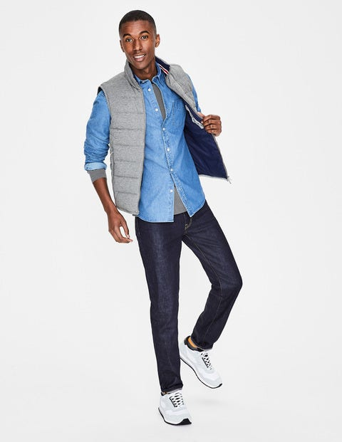 Jersey Quilted Gilet - Grey Marl