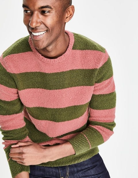 Textured Crew Neck - Washed Berry/Ghillie Green