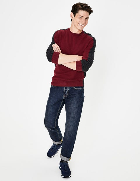 Cashmere Crew Neck - Port Colourblock
