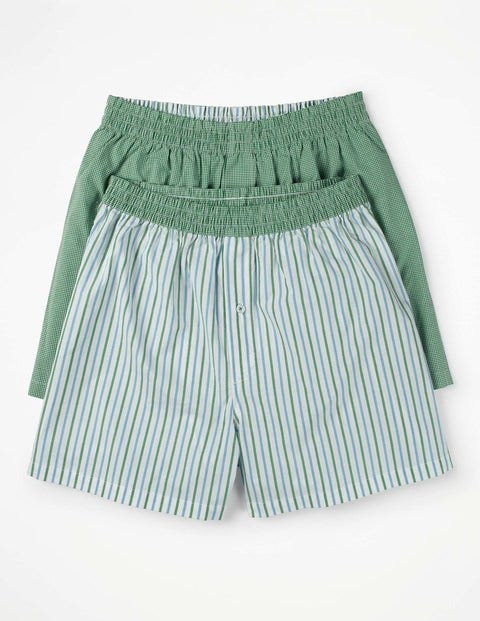 2 Pack Woven Boxers Green Men Boden, Green