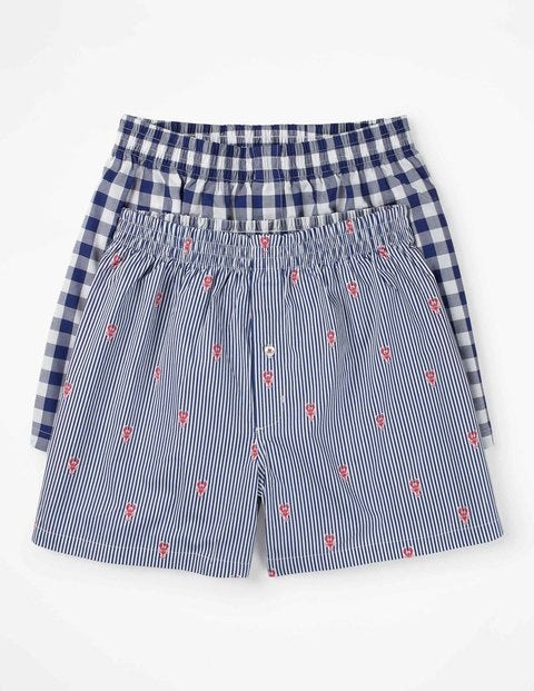 2 Pack Woven Boxers Blue Men Boden, Blue