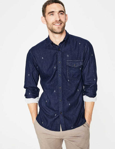 Double Cloth Shirt Anchor Jacquard Men Boden