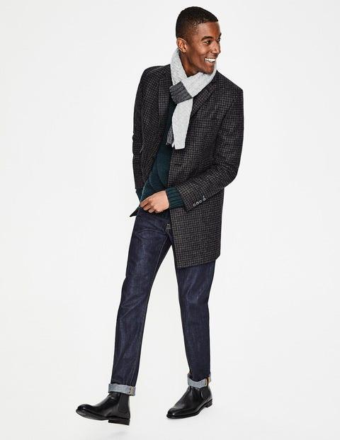 British Tweed Overcoat Grey Men Boden, Black