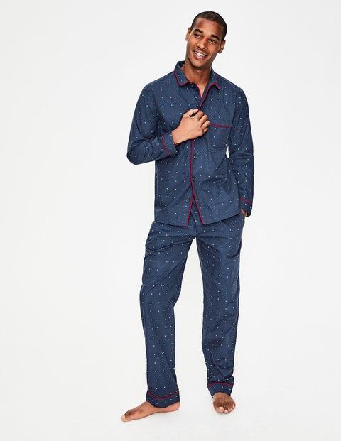 Cotton Printed Pyjama Set - Navy Multi Spot