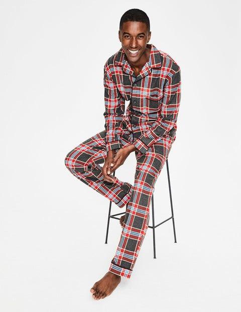 Brushed Cotton Pajama Set - Charcoal Marl/Red Check