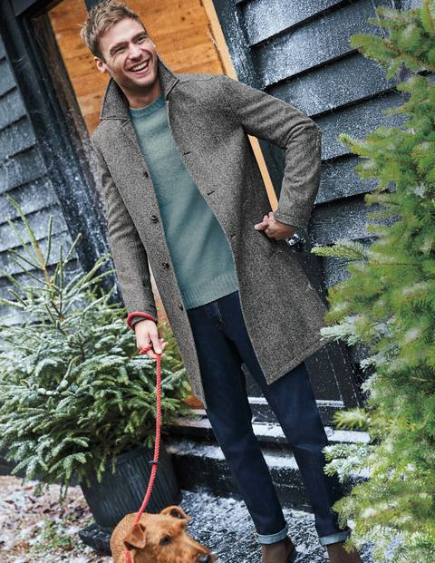 Darley Tweed Car Coat - Charcoal Herringbone