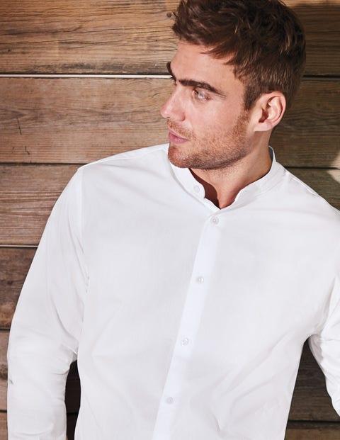 Grandad Collar Shirt - White Self- Stripe