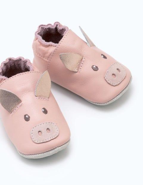 Chaussures En Cuir Motif Cochon - Rose poudré provence