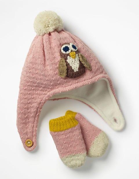 Crochet Hat & Mittens Set - Vintage Pink