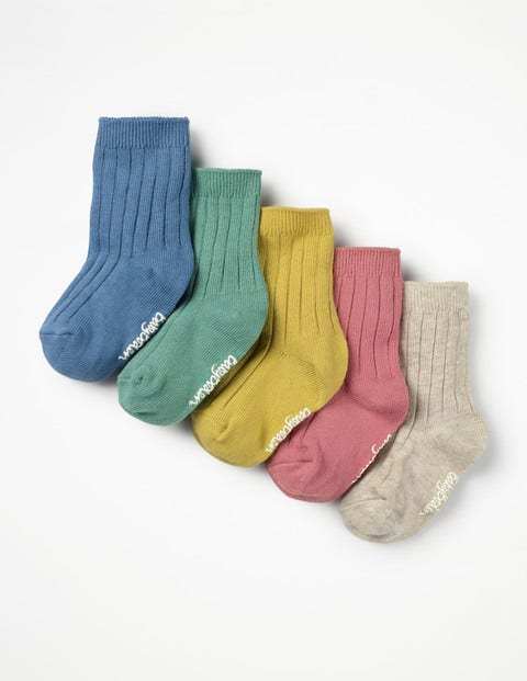 Image of 5 Pack Ribbed Socks Metallic Baby Boden, Multicouloured
