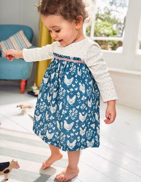Pointelle Twirl Dress - Azure Blue Farmyard Toile