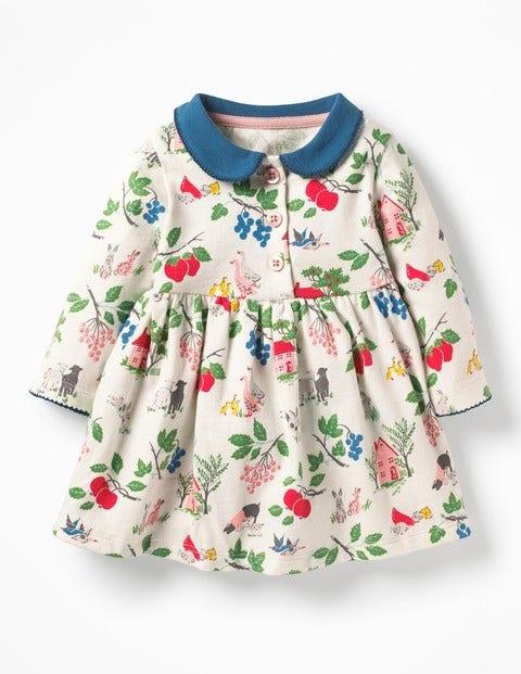Pretty Collared Jersey Dress - Multi Farmyard Friends