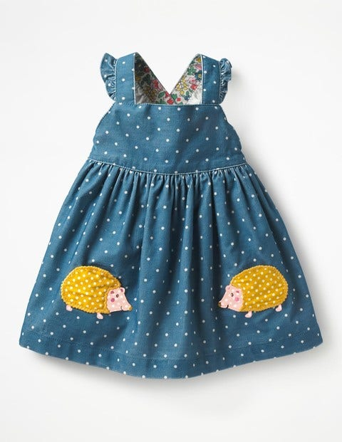 Woven Appliqué Pinafore - Azure Blue Hedgehogs