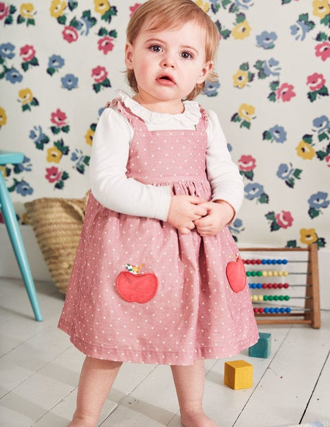 Woven Appliqué Pinafore - Almond Blossom Pink Apples