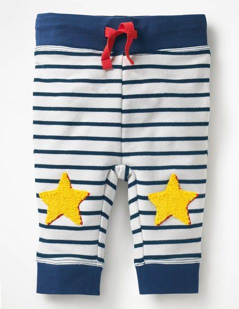 Novelty Knee Patch Pants - Ecru/Beacon Blue Stars