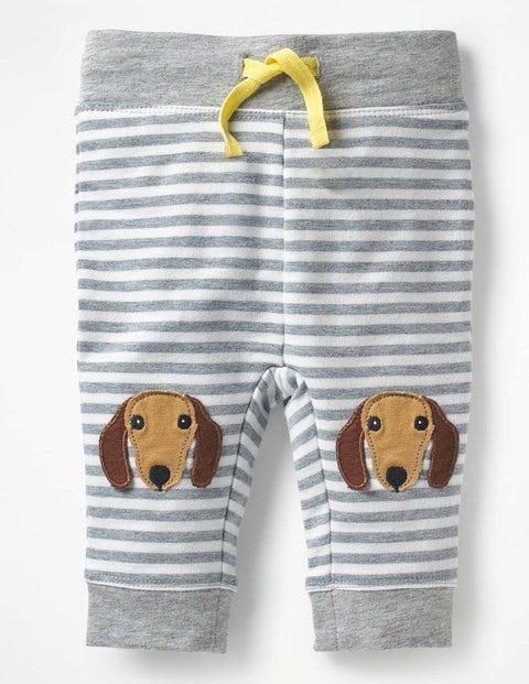 Novelty Knee Patch Trousers - Grey Marl/Ecru Dog