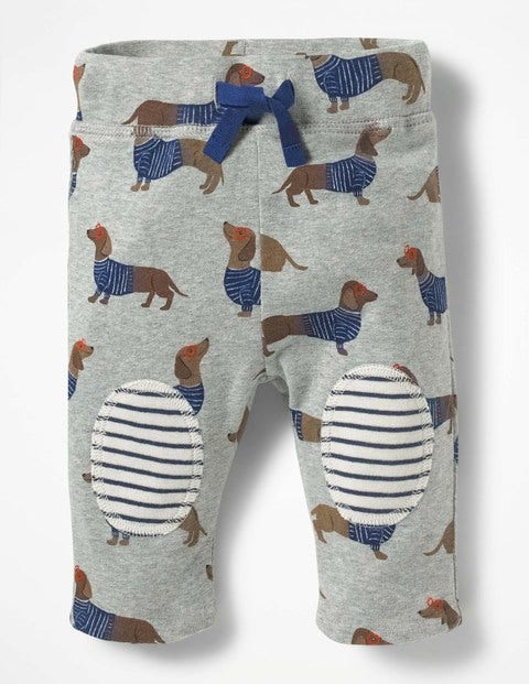 Reversible Knee Patch Trousers - Grey Marl Sausage Dogs