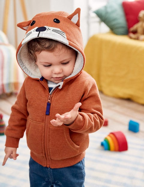 Shaggy Lined Fox Cub Hoodie - Fox Orange