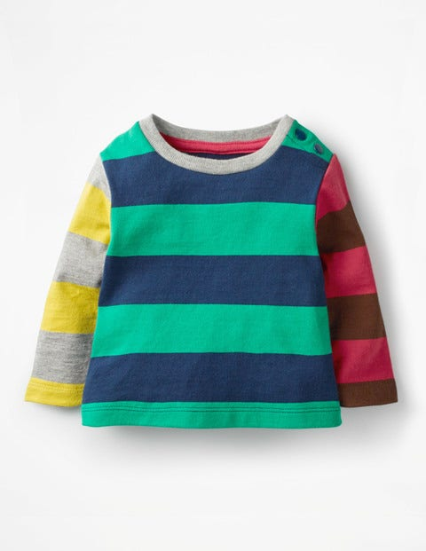 Stripy Hotchpotch T-Shirt - Wild Green/Beacon Blue