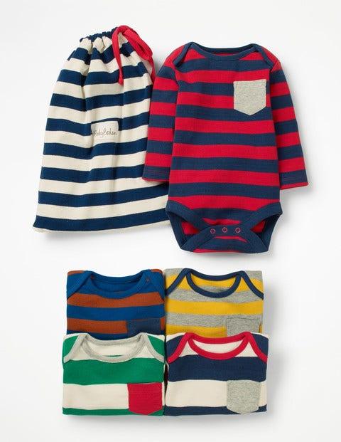 5 Pack Pocket Bodysuits - Stripe Pack