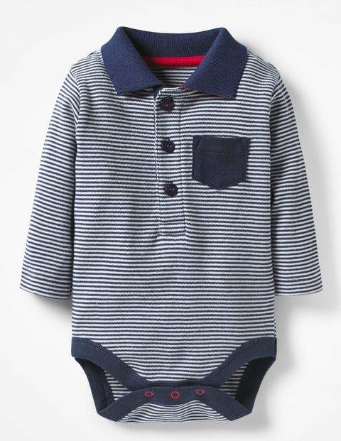 Collared Polo Bodysuit - Beacon Blue/Ecru