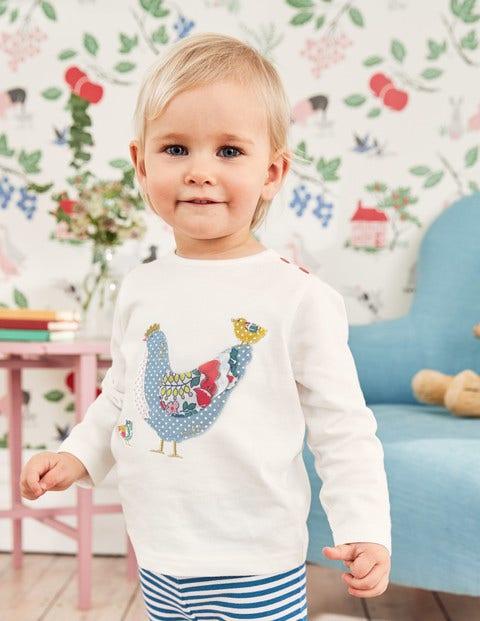 Farmyard Appliqué T-Shirt - Ecru Chicken