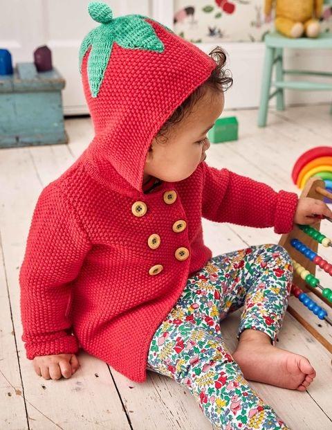 Fun Knitted Jacket - Poppy Pink Strawberry