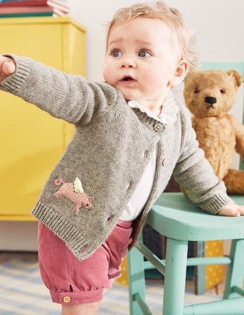 Characterful Crochet Cardigan - Grey Marl Flying Pigs